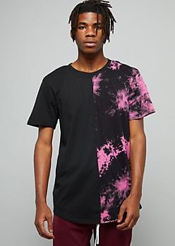Black Split Pink Tie Dye Crew Neck Tee