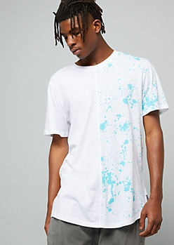 White Split Turquoise Paint Splattered Print Tee