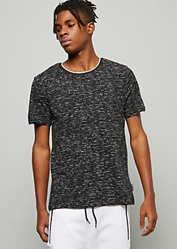 Black Space Dye Side Striped Crew Neck Tee