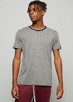 Gray Marled Side Striped Crew Neck Tee