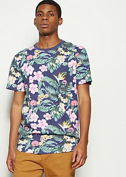 Navy Tropical Floral Print Ringer Tee