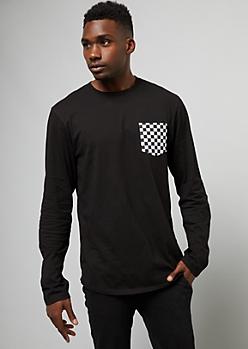 Black Checkered Print Pocket Long Sleeve Tee