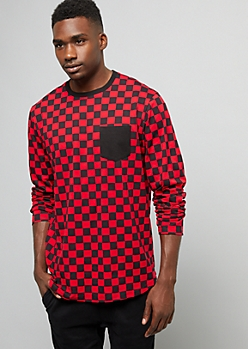 Red Checkered Print Long Sleeve Tee