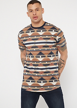 Brown Border Print Tee