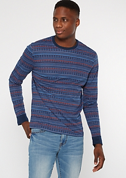 Blue Border Print Long Sleeve Tee