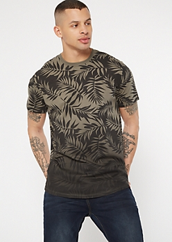 Olive Gradient Tropical Palm Print Tee