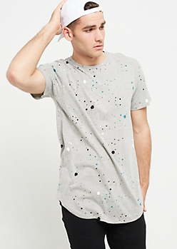 Gray Tritone Paint Splattered Tee
