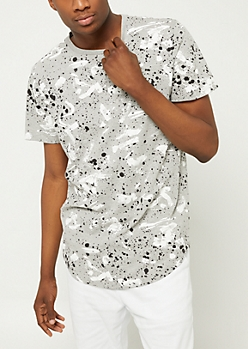 Gray Paint Splatter Brush Stroke Tee