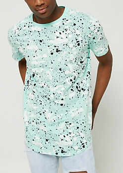 Mint Paint Splatter Brush Stroke Tee