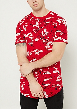 Red Paint Splatter Brush Stroke Tee