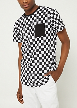 Black Checkered Pocket Tee