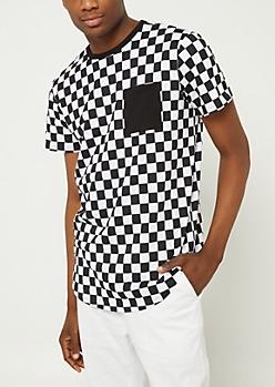 Black Checkered Pocket Tee