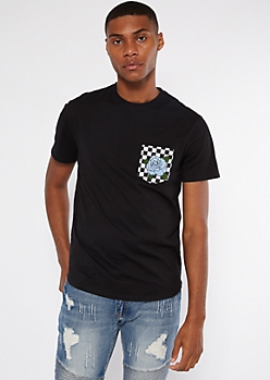 Black Checkered Rose Print Pocket Tee