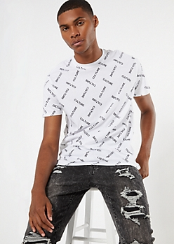 White Short Sleeve Culture Print Tee