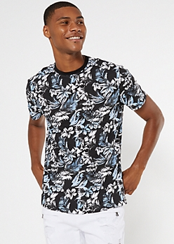 Black Tropical Floral Print Ringer Tee