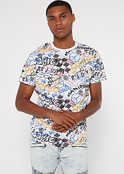 White Graffiti Print Tee