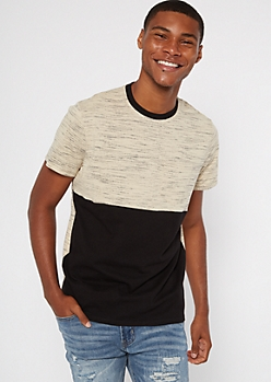 Sand Space Dye Colorblock Tee