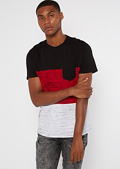 Red Space Dye Colorblock Pocket Tee