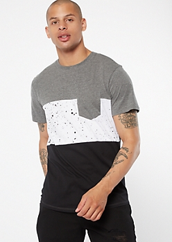 White Paint Splatter Colorblock Pocket Tee