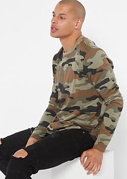 Camo Print Crew Neck Long Sleeve Tee