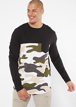 Black Colorblock Camo Print Pocket Long Sleeve Tee