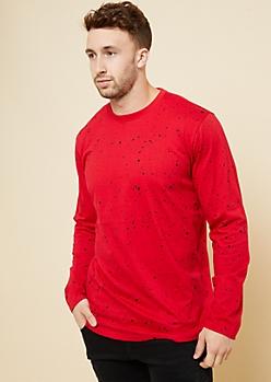 Red Paint Splatter Print Long Sleeve Tee