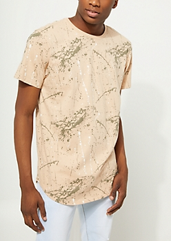 Sand Paint Splatter Scoop Neck Tee