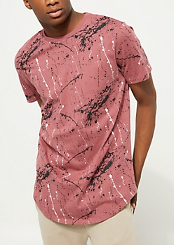 Burgundy Paint Splatter Scoop Neck Tee
