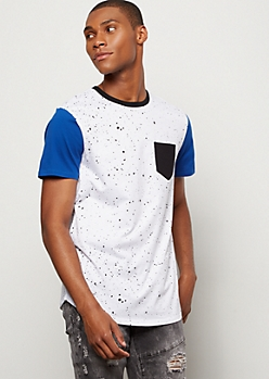 White Speckled Print Colorblock Henley Tee