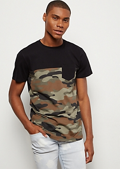 Camo Print Colorblock Crew Neck Tee