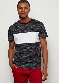 Black Space Dye Colorblock Chest Tee