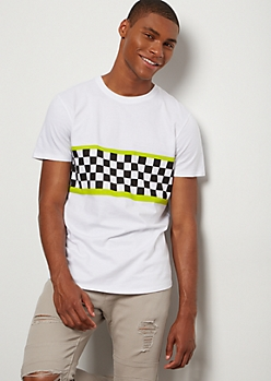 White Checkered Print Neon Colorblock Tee
