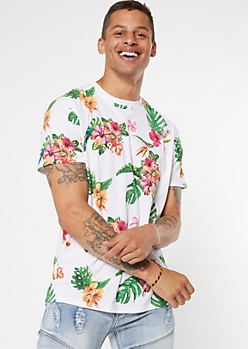 White Tropical Print Tee