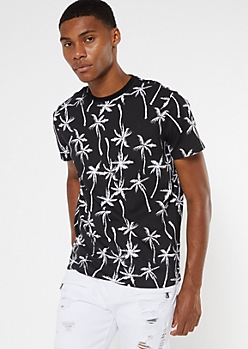 Black Palm Print Crew Neck Tee