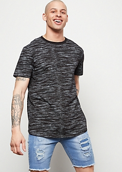 Black Space Dye Crew Neck Short Sleeve Tee