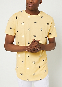Light Yellow Anchor Boat Prints Tee