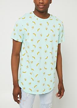 Mint Split Bananas Print Tee