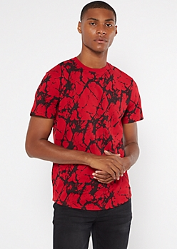 Red Marble Print Short Sleeve Crew Neck Tee