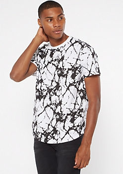 White Marble Print Short Sleeve Crew Neck Tee