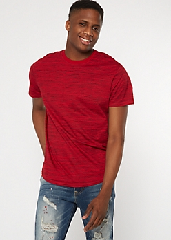 Red Space Dye Crew Neck Short Sleeve Tee