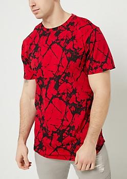 Red Marble Print Tee