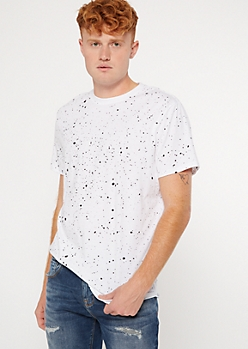 White Paint Splattered Short Sleeve Crew Neck Tee