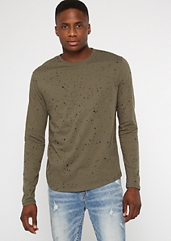 Olive Paint Splattered Long Sleeve Tee