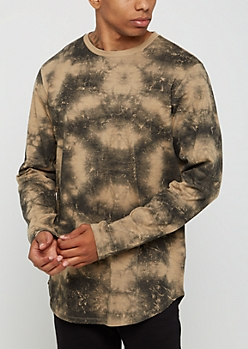 Sand Tie Dye Long Length Tee