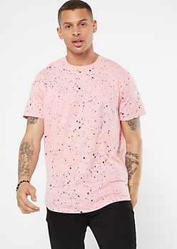 Pink Paint Splattered Print Tee