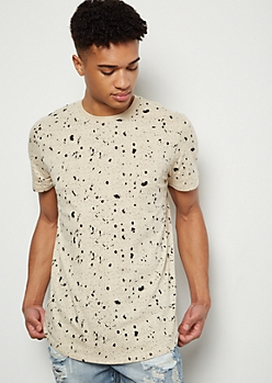 Sand Paint Splattered Print Short Sleeve Tee