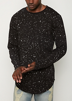 Black Paint Splattered Long Length Tee