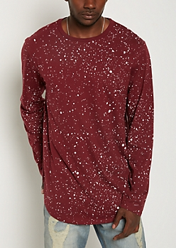 Burgundy Paint Splattered Long Length Tee