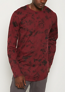 Burgundy Tie Dye Long Length Tee