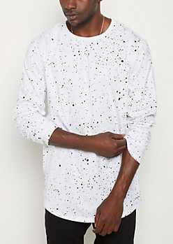 White Paint Splattered Long Length Tee